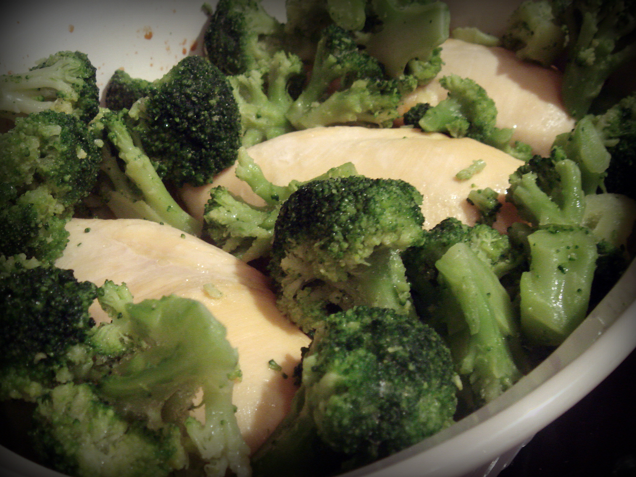 chicken nestled in a forest of broccoli - yum yum!